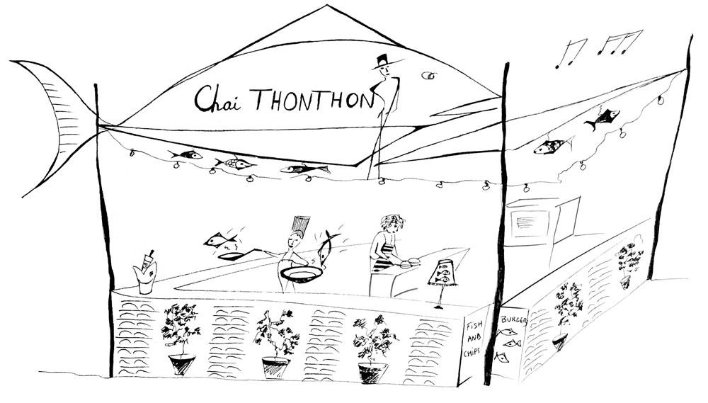 dessin du restaurant itinérant Chai Thonthon